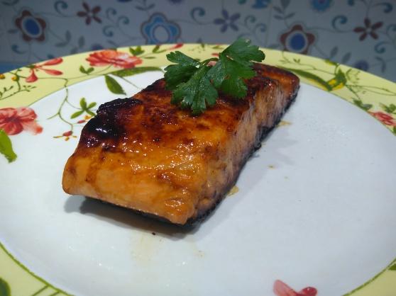 salmon marinado en soja y más